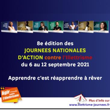 8ème édition des journées nationales d'action contre l'illetrisme du 6 au 12 septembre 2021