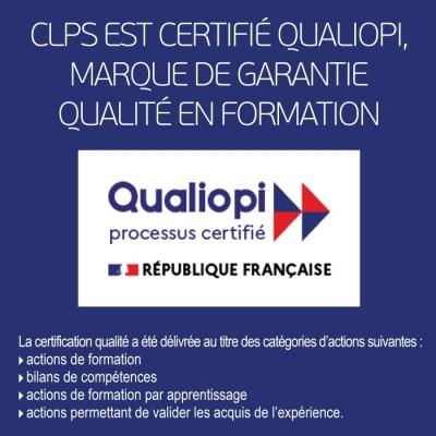 CLPS est certifié Qualiopi, marque de garantie qualité en formation